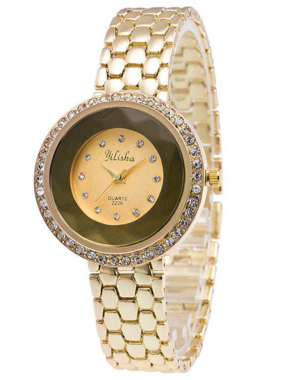 shop Steel Band Rhinestone Quartz Watch - GOLDEN