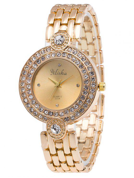 fashion Artificial Gemstone Steel Band Quartz Watch - GOLDEN