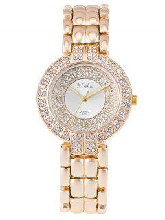 Rhinestone Roman Numerals Steel Watch - White
