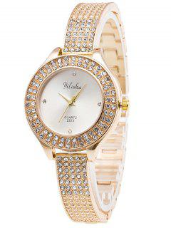 Rhinestone Quartz Steel Watch - White