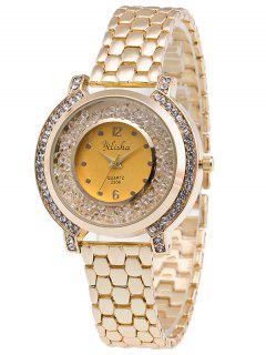 Rhinestone Beads Quartz Steel Watch - Golden