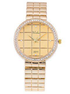 Diamante De Imitación Geométrica Embellecido De Reloj De Cuarzo De Acero  - Dorado