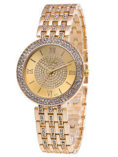 Diamante De Imitación Números Romanos De Adornan De Reloj De Cuarzo - Dorado