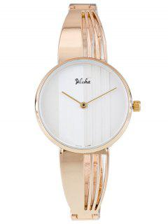 Asymmetric Steel Band Adorn Quartz Watch - White