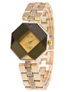 Steel Band Rhinestone Geometric Watch - Golden