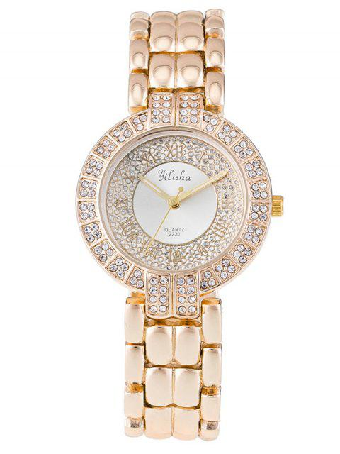 women Rhinestone Roman Numerals Steel Watch - WHITE  Mobile