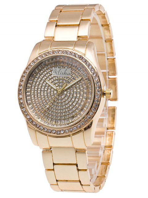 new Dial Plate Rhinestone Steel Quartz Watch - GOLDEN  Mobile