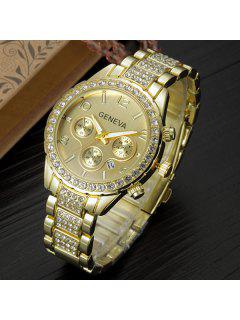 Rhinestone Steel Watch - Golden