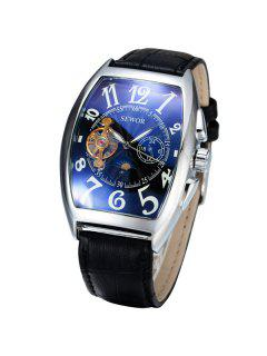 Artificial Leather Geometric Mechanical Watch - Black