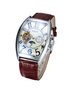 Artificial Leather Geometric Mechanical Watch - Brown