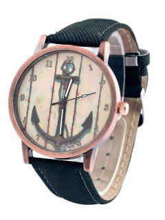 Vintage Anchor Pattern Watch - Deep Blue