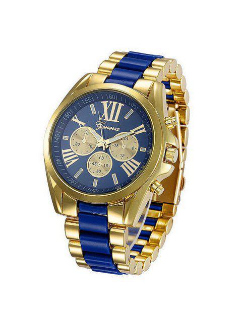Reloj Acero Números Romanos Embellecido - Azul  Mobile