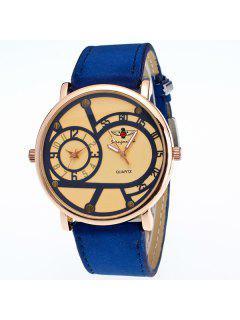 Vintage Big Dial Plate Quartz Watch - Blue
