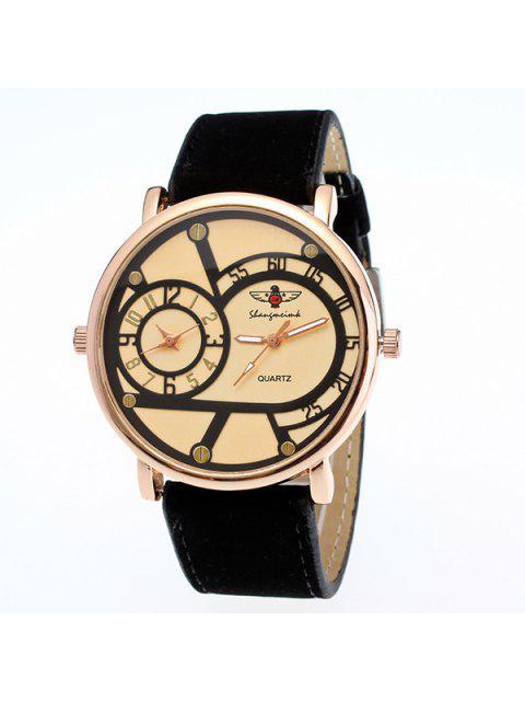 trendy Vintage Big Dial Plate Quartz Watch - BLACK  Mobile