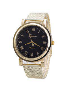Vintage Roman Numerals Steel Quartz Watch - Black And Golden