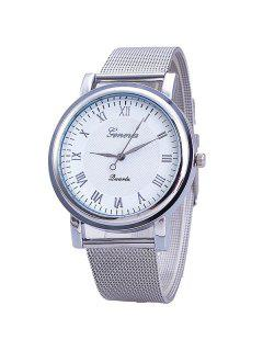 Vintage Roman Numerals Steel Quartz Watch - Silver White