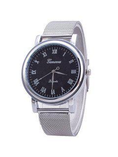 Vintage Roman Numerals Steel Quartz Watch - Silver And Black