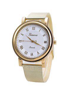 Vintage Roman Numerals Steel Quartz Watch - Gold And White