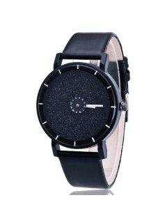 PU Leather Starry Sky Quartz Watch - Black