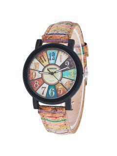 Vintage Artificial Leather Quartz Watch - Brown