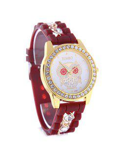 Silicone Hollow Rhinestone Owl Quartz Watch - Dark Auburn
