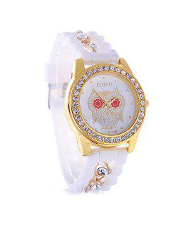Silicone Hollow Rhinestone Owl Quartz Watch - White