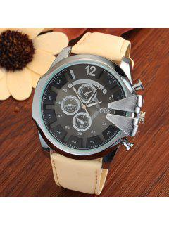 Vintage Stainless Steel Sport Quartz Watch - Beige