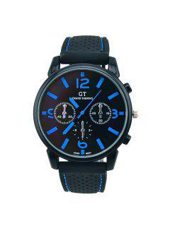 Vintage Big Dial Silicone Quartz Watch - Blue