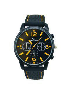 Vintage Big Dial Silicone Quartz Watch - Yellow