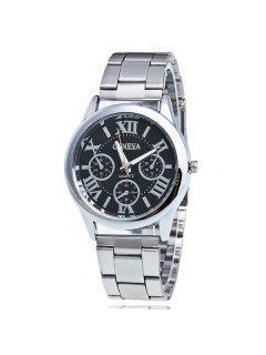 Roman Numerals Analog Steel Quartz Watch - Black