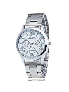 Roman Numerals Analog Steel Quartz Watch - White