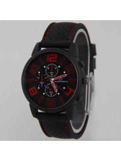 Big Dial Silicone Quartz Watch - Red