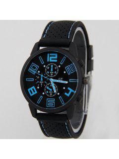 Big Dial Silicone Quartz Watch - Blue