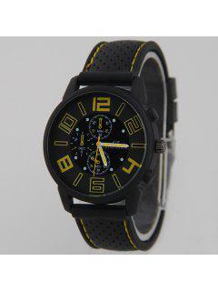 Big Dial Silicone Quartz Watch - Yellow