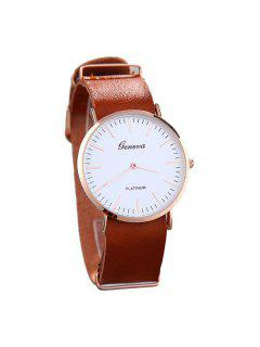 Analog Artificial Leather Quartz Watch - Brown
