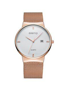 GIMTO Rhinestone Steel Quartz Wrist Watch - Gold And White