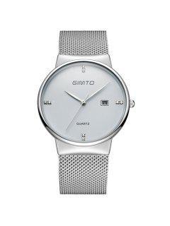 GIMTO Rhinestone Steel Quartz Wrist Watch - Silver