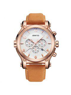 GIMTO Artificial Leather Quartz Wrist Watch - Brown