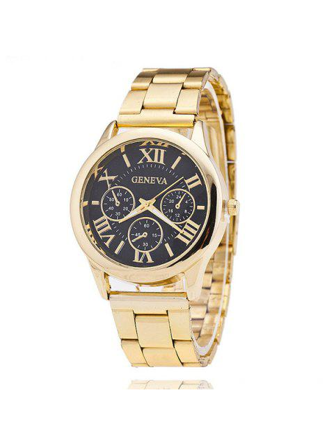 womens Roman Numerals Steel Band Watch - BLACK  Mobile