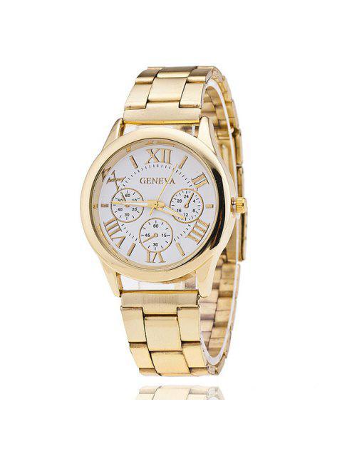 Reloj de la venda de acero de los numerales romanos - Blanco  Mobile