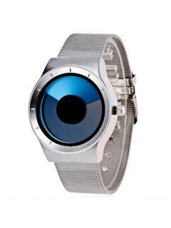 Stainless Steel Turntable Quartz Watch - Blue