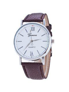 Roman Numerals Dial Artificial Leather Watch - Brown