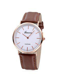 Analog Dial Artificial Leather Watch - Brown