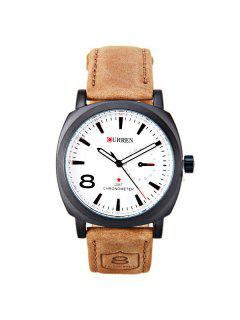 Artificial Leather Cloth Watch - White