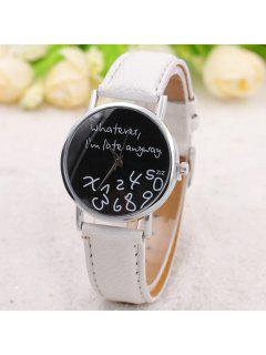 Whatever Printed Artificial Leather Watch - White