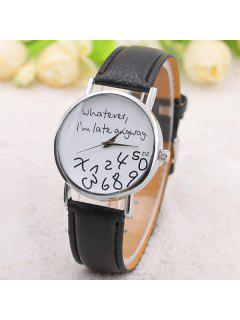 Whatever Dial Artificial Leather Watch - Black