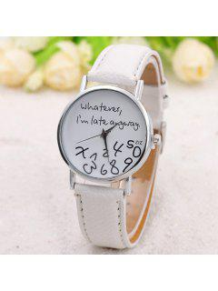 Whatever Dial Artificial Leather Watch - White