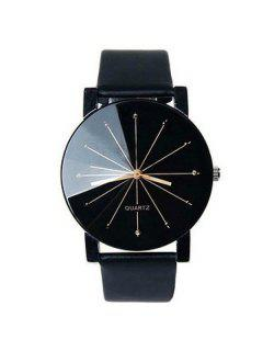Geometric Ray Artificial Leather Watch - Black