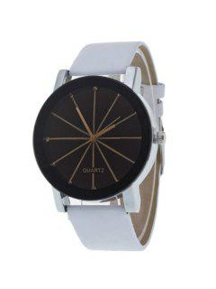 Geometric Ray Artificial Leather Watch - White