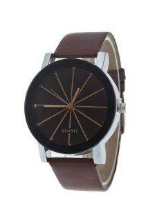 Geometric Ray Artificial Leather Watch - Brown